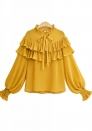 Women's Pleated Casual Round Neck Blouse Ruffles Long Sleeve Chiffon Tops Shirts