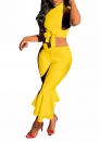 Women's Sexy 2 Piece Outfits V-Neck Crop Top and Wide Leg Long Pants Jumpsuits Set