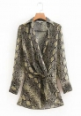 Women's Stretchy Serpentine Print Cotton Coat
