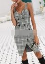 Women Casual Short Sleeve Striped Tie Waist Beach Dress