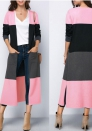 Womens Color Block Long Sleeve Drape Front Open Cardigan