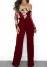 Women Off Shoulder Sequin Ruffle Top Jumpsuit