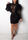 Women Long Sleeve Lace Patchwork Cocktail Party Slim A-Line Dress