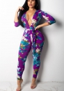 Women's Summer Beach Floral Print Spaghetti Strap Wide Leg Party Jumpsuits Long Pants
