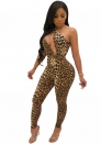 Women's Leopard Print Cut Out  Bodycon Club Long Jumpsuit Romper