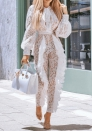 Women Ruffle Lace Nude Illusion Back Cutout Jumpsuit