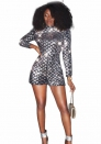 Women Sexy Sequin Party Short Jumpsuits Club Rompers with Long Sleeve