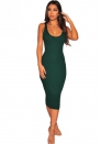 Women's Solid Printed Spaghetti Strap Body-Con Dress