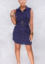 Women's Tie Waist Button Down Shirt Dress  Sleeveless Casual Blouse Dress