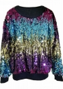 Segment color dazzling sequined sweater
