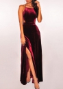 Sexy suede long skirts back straps  slit evening dress suspenders front evening dress