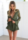 Women's Sexy lace long sleeve Ruffle short Rompers