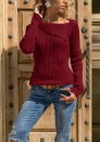 Lady's irregular long-sleeved sweater Women's Pit sweater