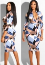 Colorful Print Dress Long Sleeves zipper with belt decoration