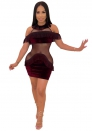 Women's sexy club wear perspective miniskirt Fringed dress