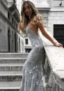 Women's Maxi Dresses Sexy V-neck Strip Back Sequin Evening Gown