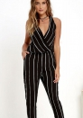 Women's fashion Deep V open back Striped Jumpsuits