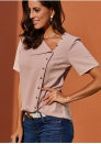 Women's Loose solid color chiffon shirt Asymmetrical neckline Lapel Shirt