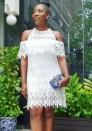 Women's Summer fashion white lace one-shoulder dress