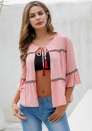 Women's fashion sweet trumpet sleeve cardigan color ribbon shirt