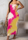 Women's sexy tube dress digital print dress