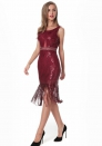 Women's Sequined fringed perspective dress midi dress