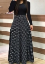 Women's Polka dot color matching maxi dress short sleeve
