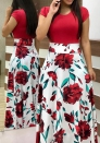 Women's Flower printing color matching maxi dress short sleeve