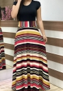 Women's color stripe printing color matching maxi dress short sleeve
