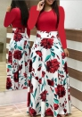 Women's Flower printing color matching maxi dress long sleeve