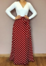 Women's Dot print V-neck color matching maxi dress long sleeve
