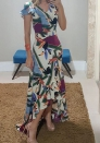 Women's digital print fishtail long dress maxi dress