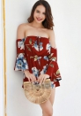 Women's  Sexy one shoulder trumpet sleeve printed jumpsuit shorts