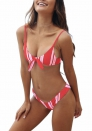 Vertical Stripe knotting Bikini set