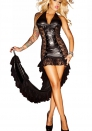 Witch Game Costume Black PU Dress l fishtail dress