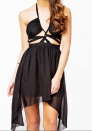 Women's sexy Nightwear sexy V-neck halter sleeveless chiffon dress
