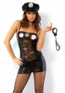 Patent leather lace hollow police costume role playing uniform