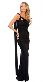 Fashoin Black Polyester One Shoulder Slinky Long Dress LINGERIE