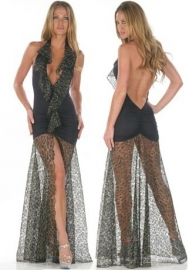 Fashoin Ultra Sexy Black Spandex Mesh Deep V Neck Stretch See Through Scales See Thought Long Dress With G-sting lingerie