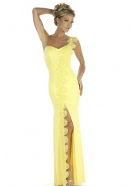Fashoin Ultra Sexy Yellow Spandex Polyester One Shoulder Stretch Slinky Split Front Long Dress With G-sting lingerie