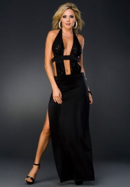 Fantastic Enchating Black Acrylic Spandex Polyester Deep V Neck Halter Backless Stretch Slinky Long Dress With G-sting lingerie