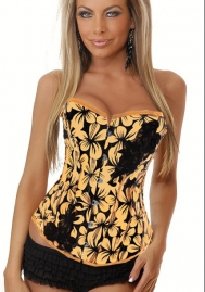 Black Yellow Print Polyestor OverBust Steel Boned Overbust Corsets
