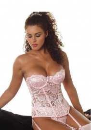 Lace corset top with underwire pushup cups and boning