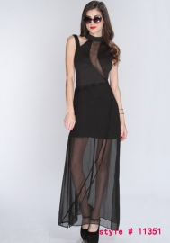 Fantastic Enchating Black Spandex Polyester Round Neck See Thought Long Dress With G-sting Gown & Long Dress