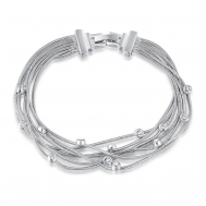Platinum wire white diamond bracelet