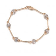 Rose gold white diamond six iron bead bracelet