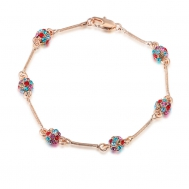 Rose Gold Diamond six iron bead bracelet