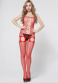 Enticement Enchating Red Stretch With G-sting Stockings