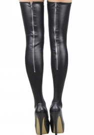 Women's Hottest PU Leather Thigh High Back Zipper Black Stockings