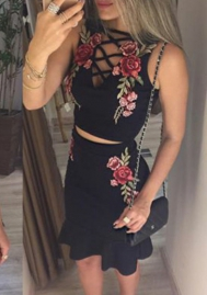 Women Sexy Elegant Crop Top Two Piece Set Floral Embroidery Party Skirt Bodycon Mini Short Dresses